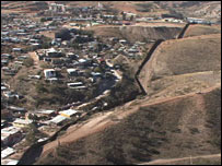 Aerial view of the border fence