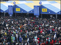 Crowds at Guangzhou station, 28/01
