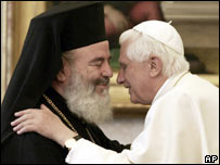 Archbishop Christodoulos and Pope Benedict XVI at the Vatican in 2006
