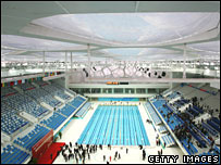 National Aquatic Centre unveiled in Beijing on 28 January 2008