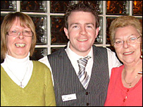 Christine Bradfield (left) with Castle Club general manager Mike Wiltshire and Lorraine Williams