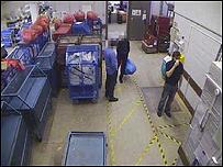 Hysenaj caught on CCTV inside the depot