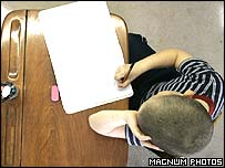 Pupil working at desk