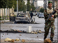 Lebanese army soldier on patrol in Beirut on Monday
