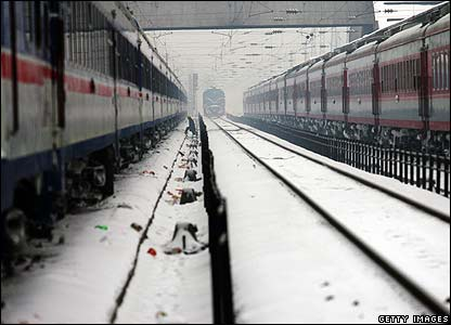 Stationary trains at Hankou railway station, Wuhan, Hubei province, 27 Jan 2008
