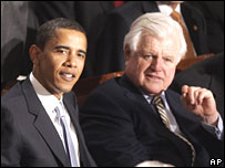 Barack Obama and Ted Kennedy