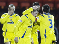 Willie Gibson is congratulated after his free-kick led to Kilmarnock's first goal
