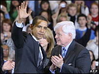 Barack Obama and Edward Kennedy at American University, 28 Jan 2008