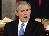 President George W Bush delivers his State of the Union Address, 28 Jan 2008