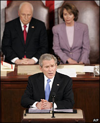 President George W Bush, with Vice-President Cheney and House Speaker Nancy Pelosi behind
