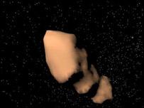 Gráfica digital de un asteroide, Tutatis (Foto: NASA)