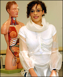 Medical student Melissa Gilbert modelling the gown