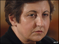 Shirin Ebadi at a conference in Prague (8 October 2007)