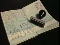 Passport document and stamp