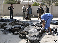 Miqdadiya victims laid outside Baquba hospital