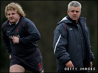 Wales coach Warren Gatland (right) and Ospreys prop Duncan Jones