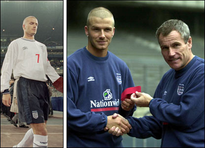 David Beckham receives the captain's armband from Peter Taylor