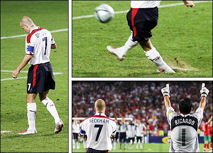 David Beckham misses his penalty against Portugal
