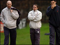 A disappointed Tom Shanklin (left) after training with Shane Williams and Gareth Delve