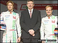 Honda drivers Jenson Button (left) and Rubens Barrichello (right) with Honda team principal Ross Brawn