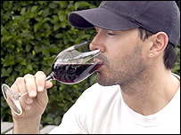 Man drinking wine