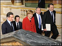 Nicolas Sarkozy, Angela Merkel,  Gordon Brown and Romano Prodi