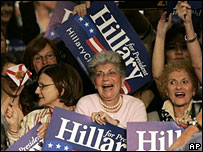Clinton supporters celebrate at a rally in Davie, Florida