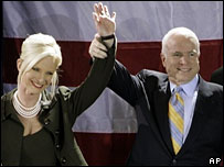 Cindy and John McCain at his victory rally in Florida, 29 Jan 2008