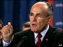 Rudy Giuliani addresses his election night rally in Florida