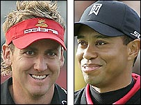 Ian Poulter (left) and Tiger Woods
