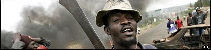 A Kenyan armed with a machete