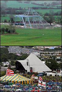 Pyramid Stage in January 2008 (above) and during the 2007 festival