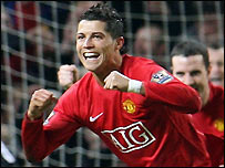Ronaldo celebrates scoring against Newcastle