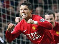 Ronaldo celebrates scoring against Newcastle