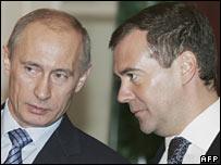 Vladimir Putin (left) and Dmitry Medvedev