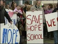 Rural school closure protesters