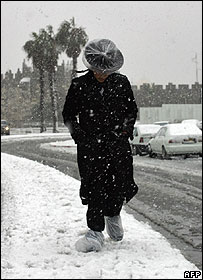 Man walks through snow in Jerusalem