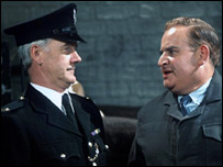 Fulton MacKay as Mr MacKay and Ronnie Barker as Norman Stanley Fletcher in Porridge