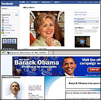 Hillary Clinton's Facebook site (top); Barack Obama's MySpace site (below)
