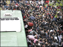 Queues for bus in China