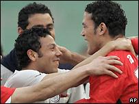 Zaki celebrates with his Egyptian team-mates