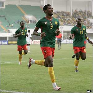 Samuel Eto'o celebrates after scoring