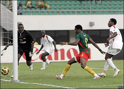 The ball finds its way into Sudan's net for the second time