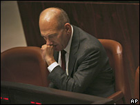 Israeli Prime Minister Ehud Olmert in the Knesset in Jerusalem (29/01/2008)