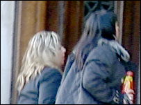 Diane Jones (left) arrives at Cardiff Crown Court