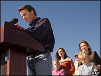 John Edwards announces he is withdrawing, with wife Elizabeth and children Emma-Claire, Cate and Jack