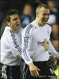 Marc Edworthy and Kenny Miller celebrate Derby's goal