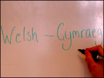 Welsh-Gymraeg written on whiteboard