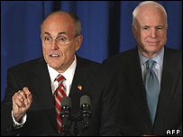 Rudy Giuliani (left) and John McCain at the Reagan Library 30 January