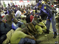 Police conduct a raid on the Central Methodist Church in Johannesburg, 31 January, 2008